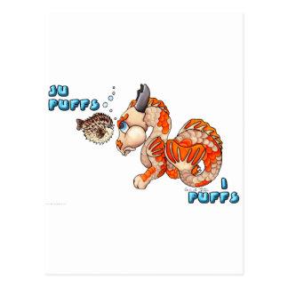 Cartão Postal Ju sopra, dragão bonito do bebê de Koi dos sopros