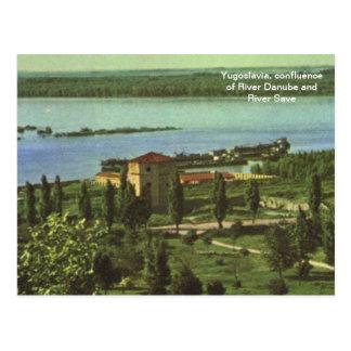 Cartão Postal Jugoslávia, afluência do rio economias de Danúbio,