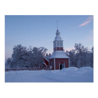 Cartão Postal Jukkasjarvi, igreja da suecia no inverno