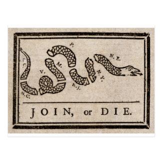 Cartão Postal Junte-se ou morra-se desenhos animados políticos
