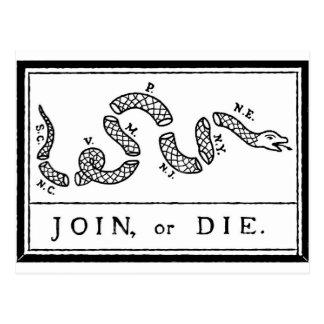 Cartão Postal Junte-se ou morra-se - Revolução Americana - B