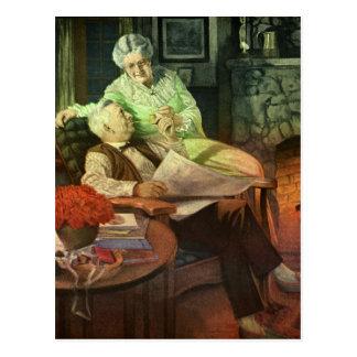 Cartão Postal Junto - ilustração velha crescente do vintage