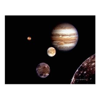 Cartão Postal Jupiter e suas luas