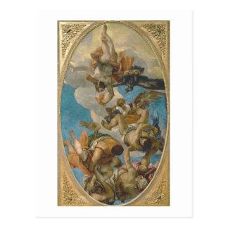 Cartão Postal Jupiter que golpeia abaixo dos vícios (óleo em