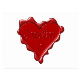 Cartão Postal Justin. Selo vermelho da cera do coração com