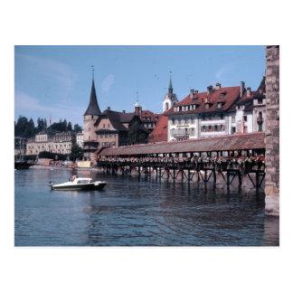 Cartão Postal Kapellbrücke (ponte), lucerna Swtizerland da