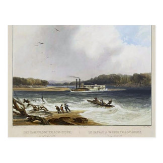 Cartão Postal Karl Bodmer- barco a vapor de Yellowstone, o Rio