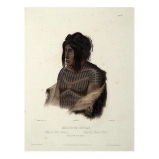 Cartão Postal Karl Bodmer-Mahsette-Kuiuab, chefe de indianos do