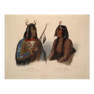 Cartão Postal Karl Bodmer-Noapeh, indiano de Assiniboin,