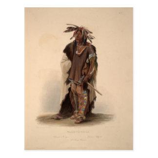 Cartão Postal Karl Bodmer- Wahk-Ta-GE-Li, um guerreiro de Sioux
