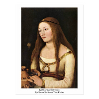 Cartão Postal Katharina Schwarz por Hans Holbein a pessoa idosa