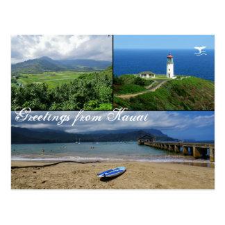 Cartão Postal Kauai, Havaí, baía de Hanalei, farol de Kilauea