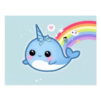 Cartão Postal Kawaii bonito narwhal com as estrelas do arco-íris