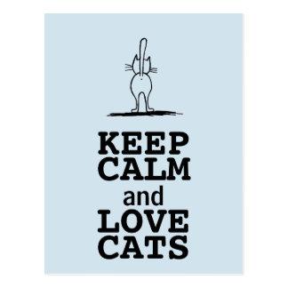 Cartão Postal KEEP CALM and LOVE CATS