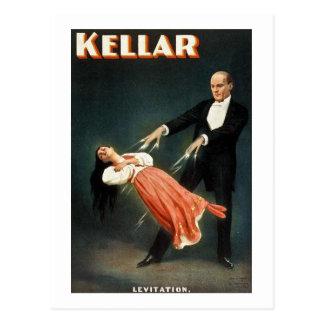 Cartão Postal Kellar a levitação do mágico - anúncio do vintage