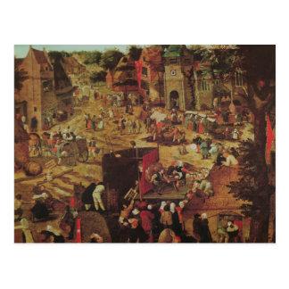 Cartão Postal Kermesse com teatro e procissão
