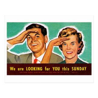 Cartão Postal Kitsch retro do vintage que procura o em domingo!