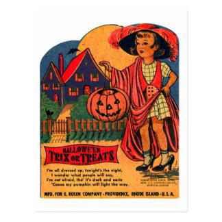 Cartão Postal Kitsch retro o Dia das Bruxas Trix do vintage ou