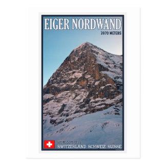 Cartão Postal Kleine Scheidegg - a parede norte do Eiger