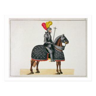 Cartão Postal Knight na armadura em seu cavalo, placa 'de um