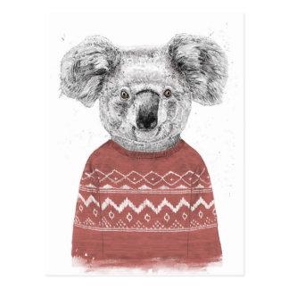 Cartão Postal Koala do inverno (vermelho)