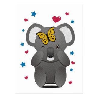 Cartão Postal Koala e borboleta