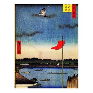 Cartão Postal Komakata Salão e ponte de Azuma (駒形堂吾嬬橋)