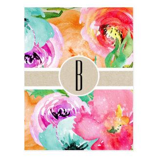 Cartão Postal Kraft botânico rústico moderno floral colorido