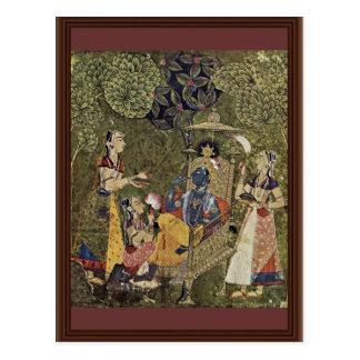 Cartão Postal Krishna e as meninas por Indischer Maler Um 1710 (