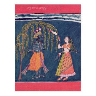 Cartão Postal Krishna que joga uma flauta, 'do Vahula