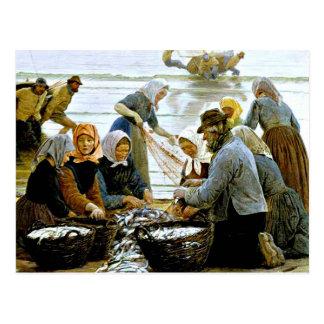 Cartão Postal Kroyer - mulheres e pescadores de Hornbaek