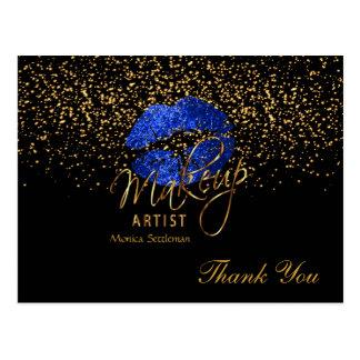Cartão Postal Lábios azuis brilhantes do maquilhador no preto