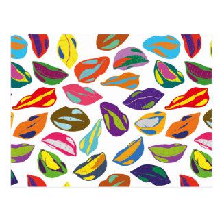 Cartão Postal Lábios coloridos retros psicóticos do teste padrão