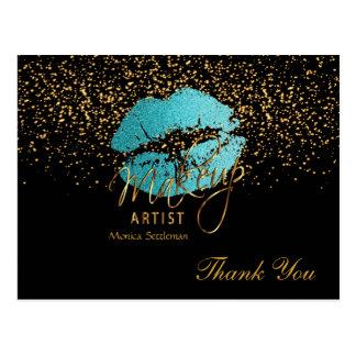 Cartão Postal Lábios da cerceta do maquilhador no preto