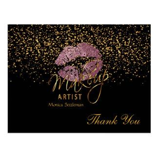 Cartão Postal Lábios do rosa do rosa do maquilhador no preto