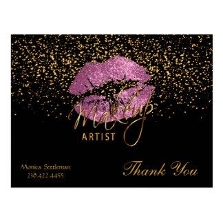 Cartão Postal Lábios tão cor-de-rosa do maquilhador no preto