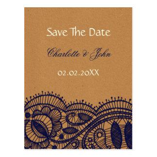 Cartão Postal Laço do marinho e casamento do papel de embalagem