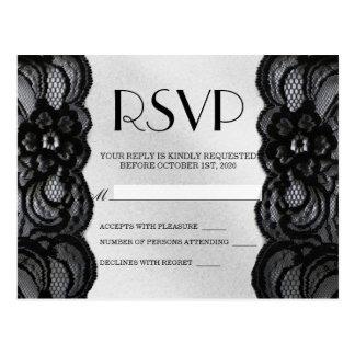 Cartão Postal Laço e cetim pretos RSVP