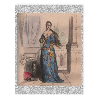 Cartão Postal Laço nobre do traje da mulher da forma francesa