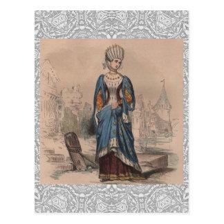 Cartão Postal Laço nobre do traje da senhora da forma francesa