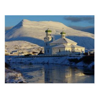 Cartão Postal Lado sul de igreja ortodoxo russo, Unalaska Islan