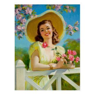 Cartão Postal Lady Em Yellow