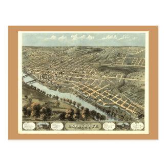 Cartão Postal Lafayette DENTRO, mapa 1868 panorâmico antigo