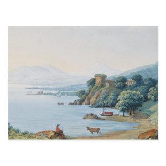 Cartão Postal Lago Annecy com o castelo por Carl Ludwig Hackert