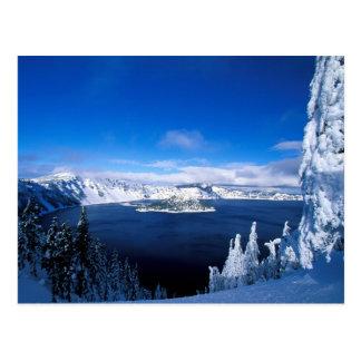 Cartão Postal Lago crater no inverno Oregon