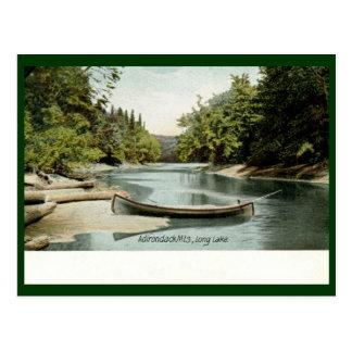 Cartão Postal Lago longo, montanhas de Adirondack, vintage 1906