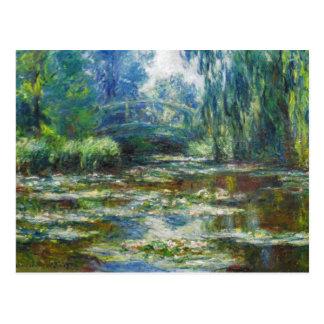 Cartão Postal Lagoa & belas artes japonesas de Monet da ponte