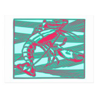 Cartão Postal Lagosta cor-de-rosa cor-de-rosa do Aqua de Fuscia