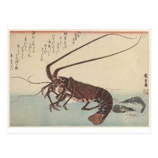 Cartão Postal Lagostas e dois camarões por Hiroshige