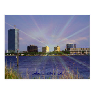 Cartão Postal Lake Charles, skyline do LA com Sunburst